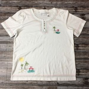 Alfred Dunner Flamingo & Palm Trees T-shirt Small